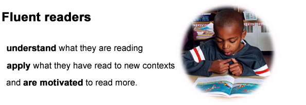 Image of child reading//Fluent readers understand what they are reading, apply what they have read to new contexts and are motivated to read more.